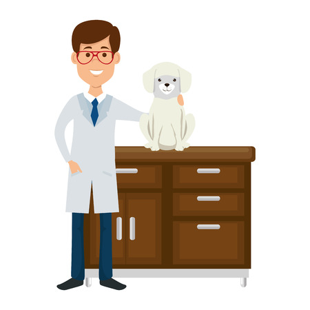 veterinary doctor with dog in drawer avatar character vector illustration design