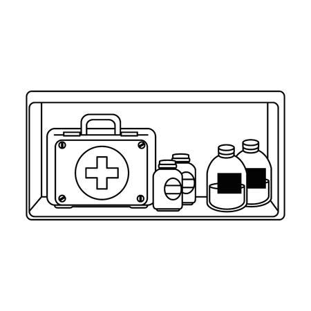 shelf with medical kit and bottles drugs vector illustration design Ilustração
