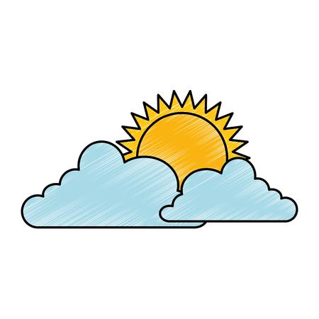 climate cloud with sun vector illustration design