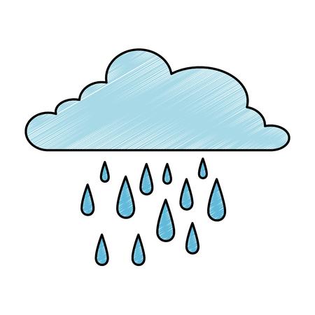 cloud rain weather isolated icon vector illustration design  イラスト・ベクター素材