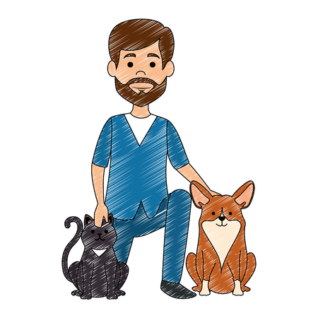 veterinary doctor with dogs avatar character vector illustration design Иллюстрация