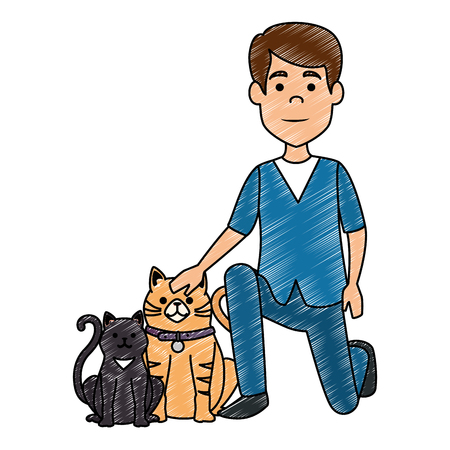veterinary doctor with cats avatar character vector illustration design Illustration