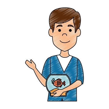 veterinary doctor with fish in aquarium avatar character vector illustration