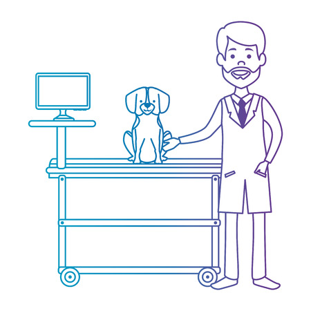 veterinary doctor with dog in stretcher avatar character vector illustration