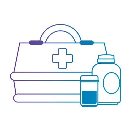 medical box with bottles drugs vector illustration design