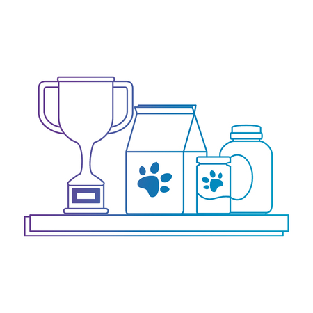 chelf pet shop with products and trophy vector illustration design 일러스트
