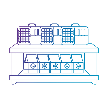 shelving pet shop with products vector illustration design Illustration