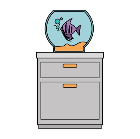 aquarium bowl with colors fish in drawer vector illustration design