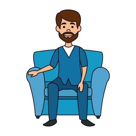 veterinary doctor in the sofa avatar character vector illustration design