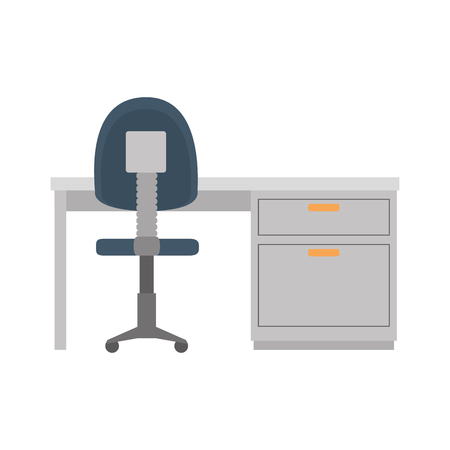 desk and office chair vector illustration design