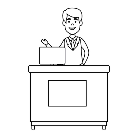doctor professional in desk with computer avatar character vector illustration Illustration