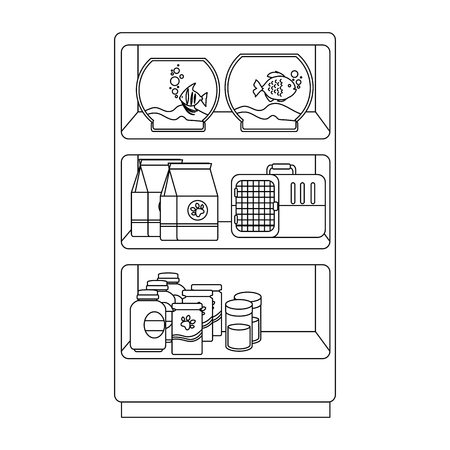 shelving of veterinary store with aquariums and products vector illustration