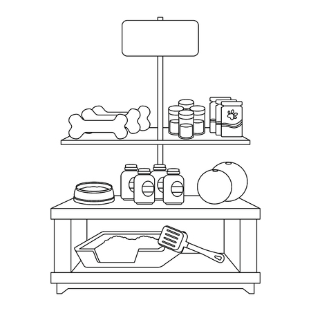 apparel pet shop with products vector illustration design Ilustração