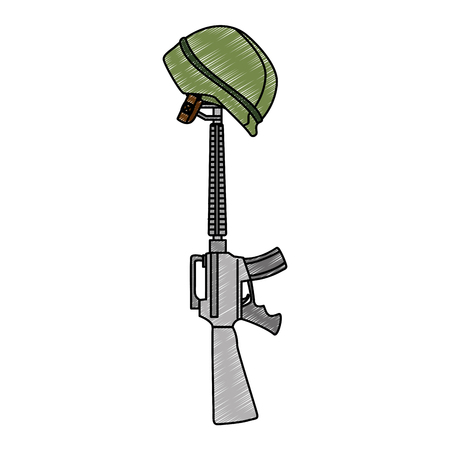 rifle war with helmet vector illustration design