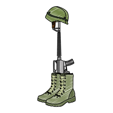 military boots with rifle and helmet vector illustration design Çizim