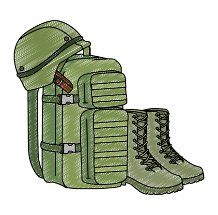 military bag with boots and helmet vector illustration design