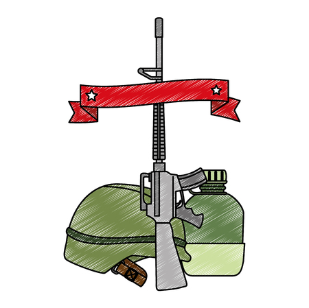 rifle war with helmet and canteen vector illustration design Illustration