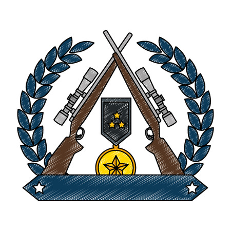sniper rifles crossed with wreath and medal vector illustration design