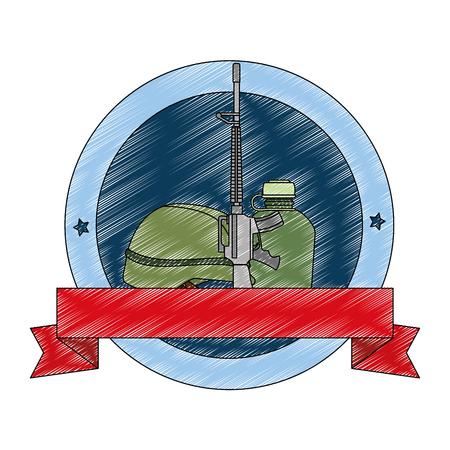 rifle war with helmet and canteen emblem vector illustration design Ilustração