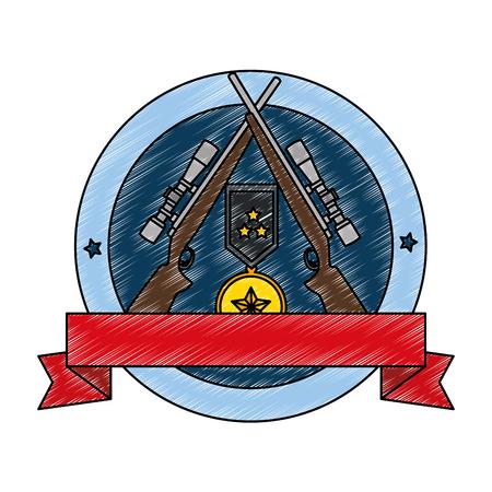 sniper rifles with medal emblem vector illustration design Illusztráció