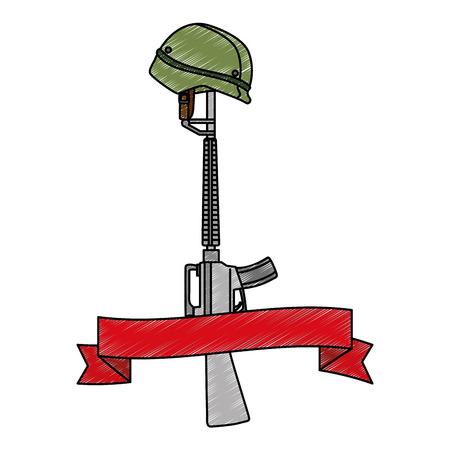 rifle war with helmet and ribbon vector illustration design 向量圖像