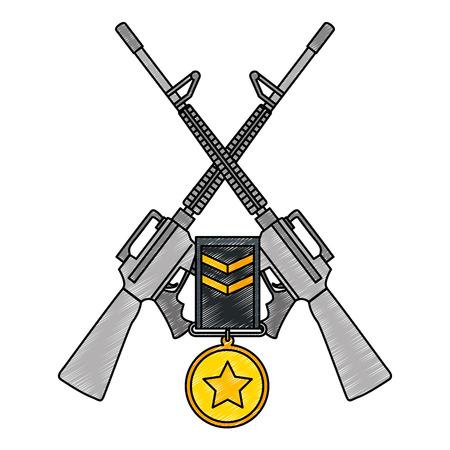 rifles war crossed with medal vector illustration design Illustration