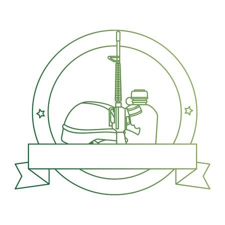 rifle war with helmet and canteen emblem vector illustration design Illustration
