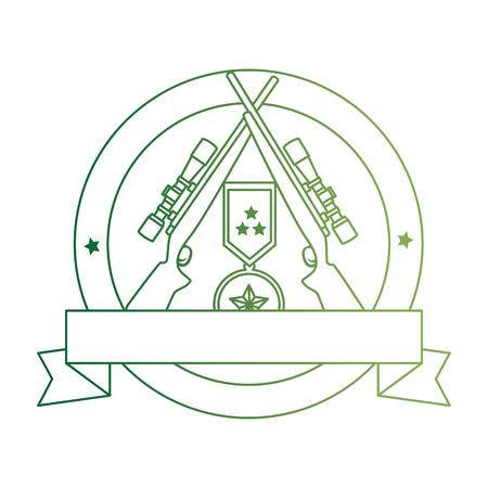 sniper rifles with medal emblem vector illustration design Illustration