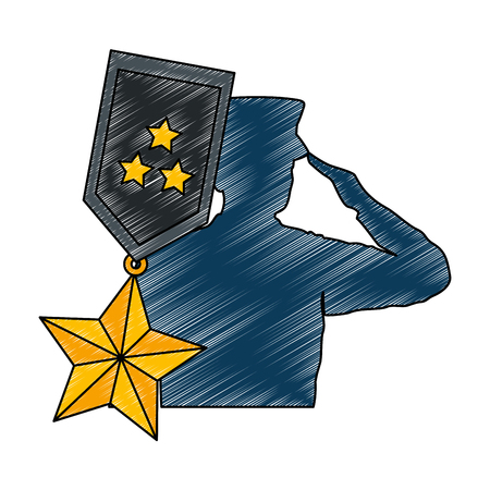 silhouette of military saluting with medal vector illustration design