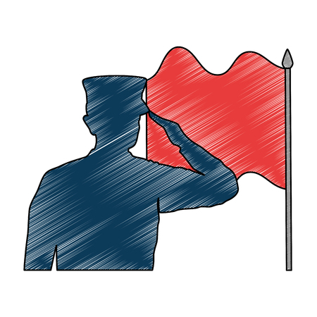 silhouette of military saluting with flag vector illustration design