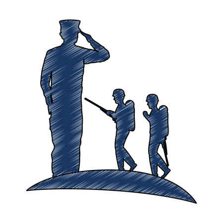 silhouette of military saluting with troopers vector illustration design