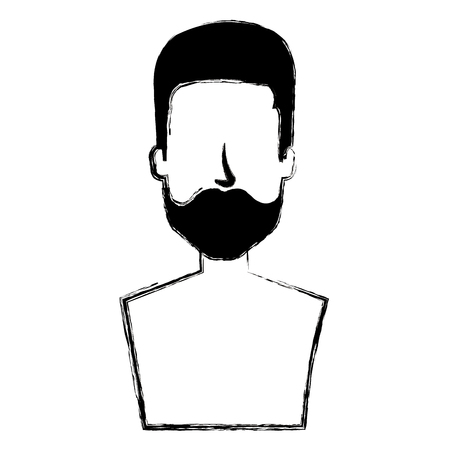 young man with beard shirtless avatar character vector illustration design Stock Photo