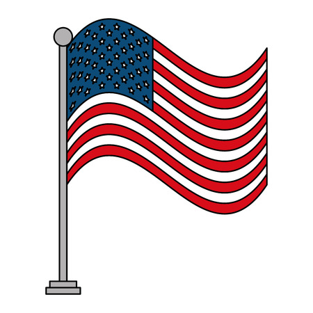united states of america flag in pole with waves vector illustration design Фото со стока
