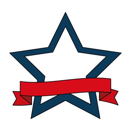 Star frame with red ribbon vector illustration design