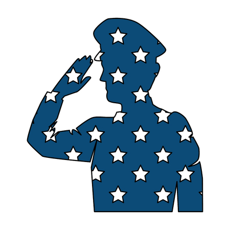 A silhouette of military saluting with stars vector illustration design