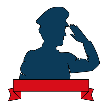 A silhouette of military saluting with ribbon vector illustration design
