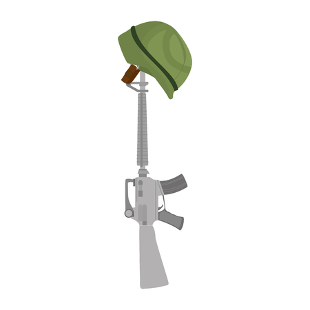 A rifle with helmet vector illustration design