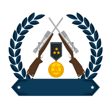 sniper rifles crossed with wreath and medal vector illustration design Stock Illustration - 100265661