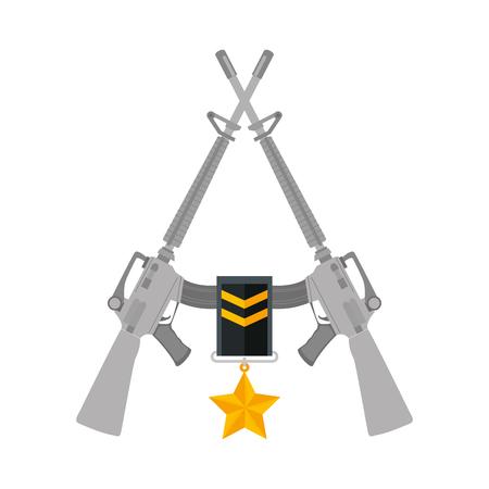 rifles war crossed with medal vector illustration design 写真素材