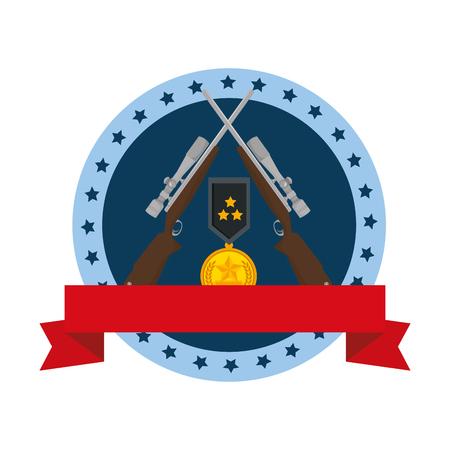 sniper rifles with medal emblem vector illustration design 写真素材