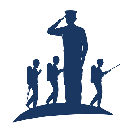 silhouette of military saluting with tropers vector illustration design 스톡 콘텐츠