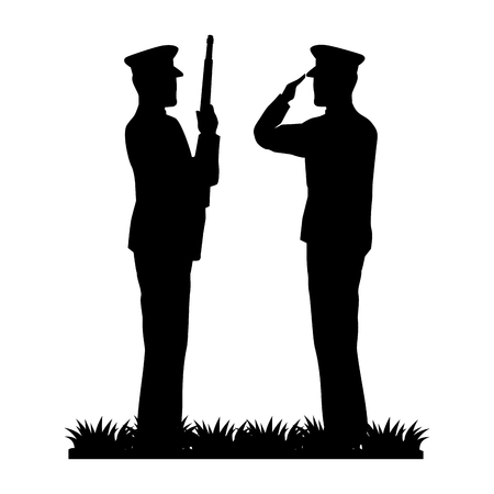 silhouette of military saluting and soldier vector illustration design
