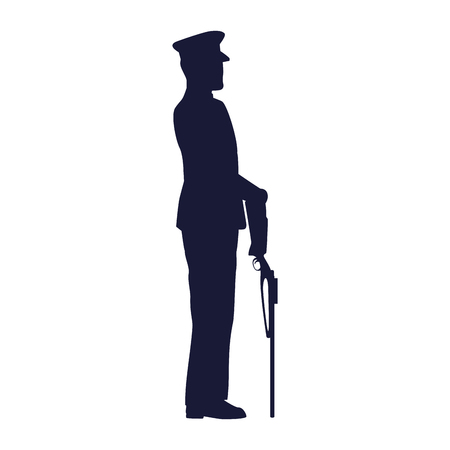 military in ceremony with rifle vector illustration design