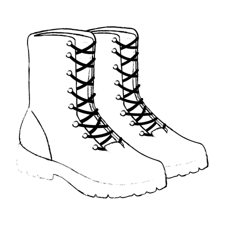 military boots equipment icon vector illustration design Standard-Bild - 100271930
