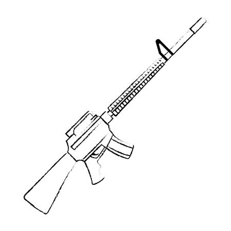 Rifle de guerra arma icono diseño ilustración vectorial