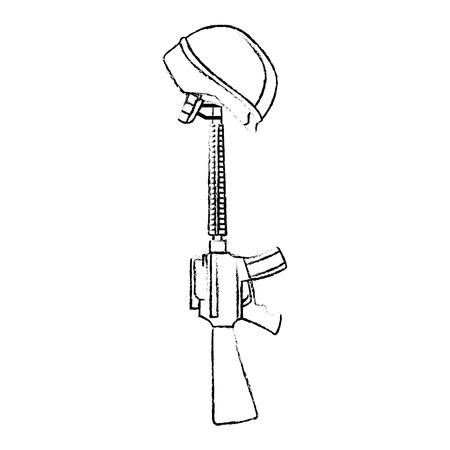 rifle war with helmet vector illustration design