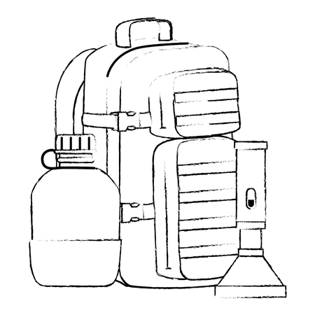 military bag with canteen and lantern vector illustration design