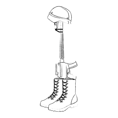 military boots with rifle and helmet vector illustration design Illustration