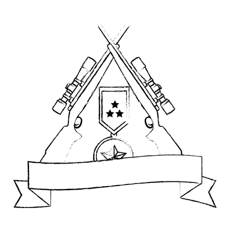 sniper rifles crossed with medal and ribbon vector illustration design