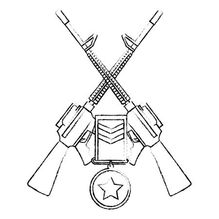 rifles war crossed with medal vector illustration design Ilustração